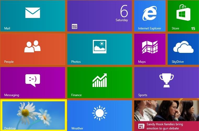 Desktop button on Windows 8