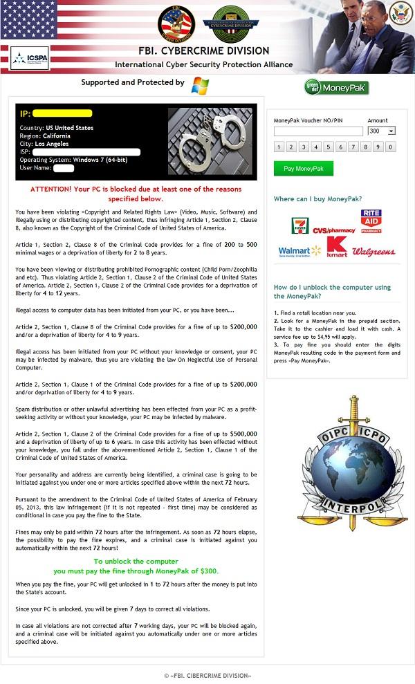 Fake FBI Cybercrime Division warning