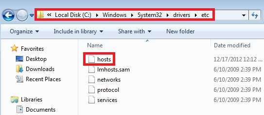 HOSTS file location