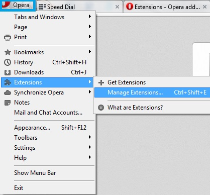 Manage opera extensions