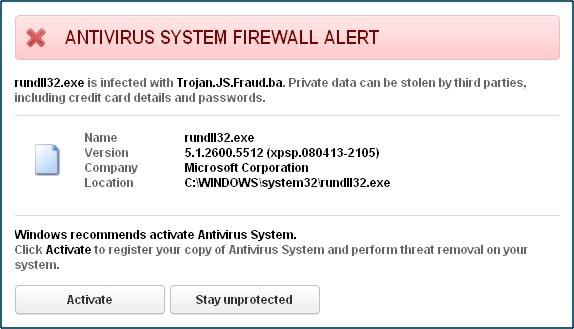 Antivirus System Firewall Alert