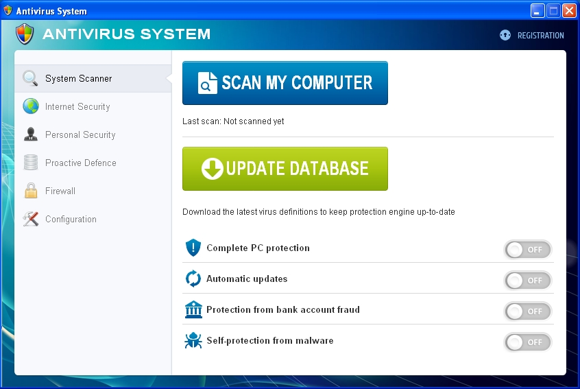 Antivirus System fake AV