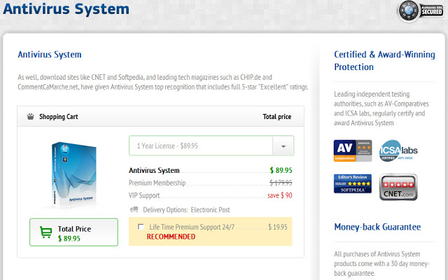Antivirus System payment pageAntivirus System payment page