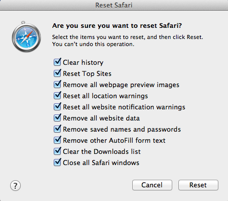 Are you sure you want to reset safari