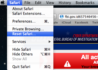 Reset Safari browser