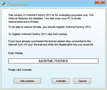 Antiviral Factory 2013 activation