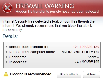 Firewall warning of Internet Security virus