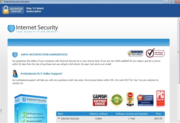 Internet Security purchase page