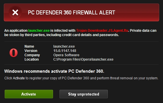 PC Defender 360 Firewall Alert