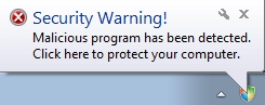 Security Warning! Malicious program has been detected