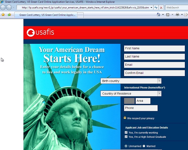 lp.usafis.org screenshot