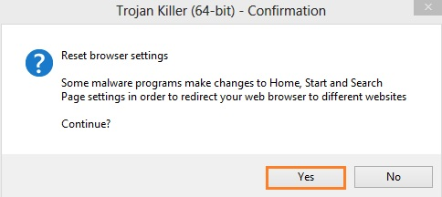 Confirmation to reset browser settings