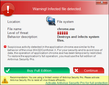 Warning! Infected file detected