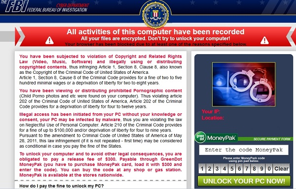 Your browser has been blocked - fake FBI scam