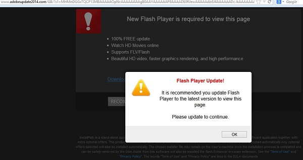 Adobeupdate2014.com fake Flash Player Update alert