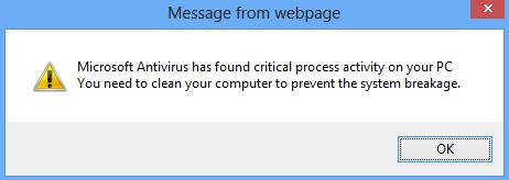 Microsoft Antivirus fake alert