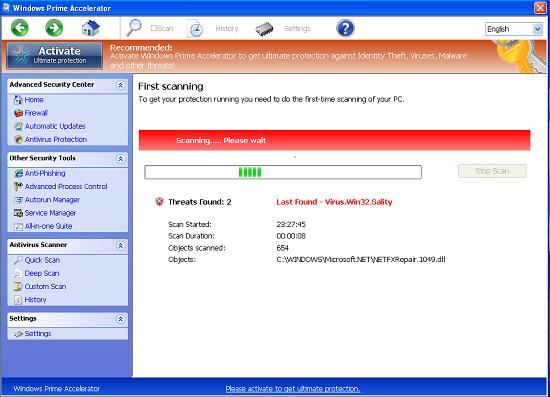 Windows Prime Accelerator scam