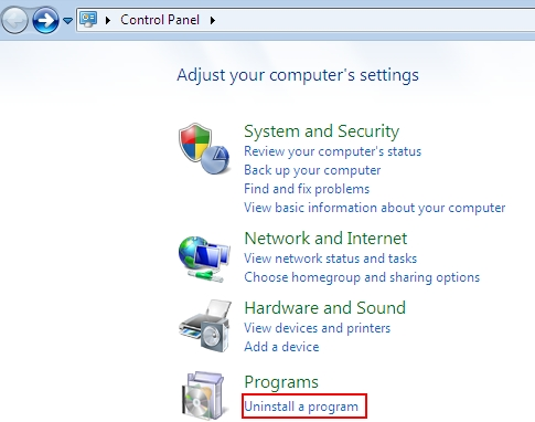 Uninstall a program in Windows Vista and 7
