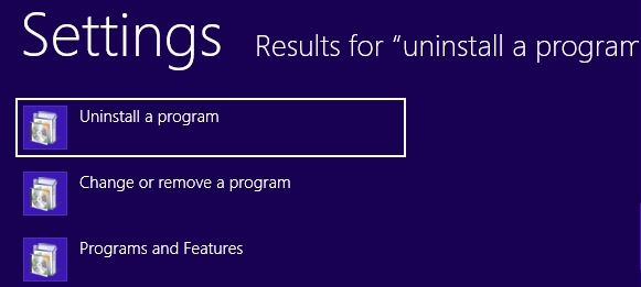 Uninstall a program in Win 8