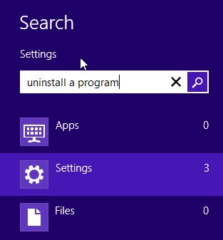 Uninstall a program in Windows 8
