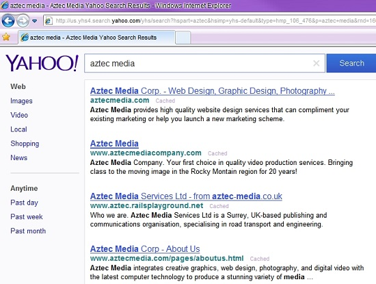 Aztec Media Yahoo Search Results