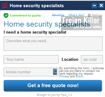 Home Security Specialists pop-up