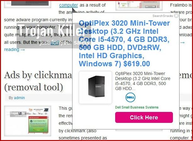 SearchSnacks pop-up ads