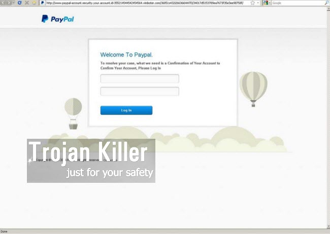 Fake PayPal account security alert