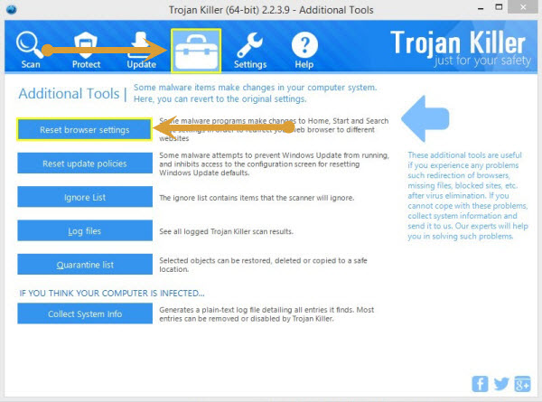 Reset browser settings with Trojan Killer