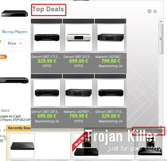 Top Deals by TinyWallet adware