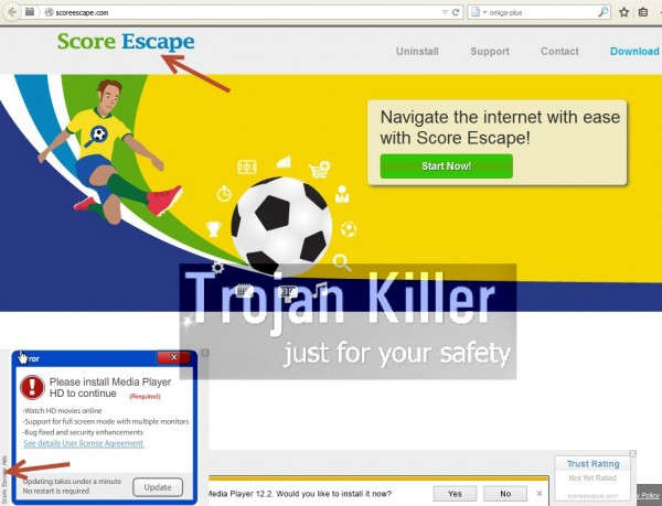 Score Escape adware website