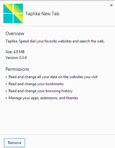 Taplika New Tab Chrome extension