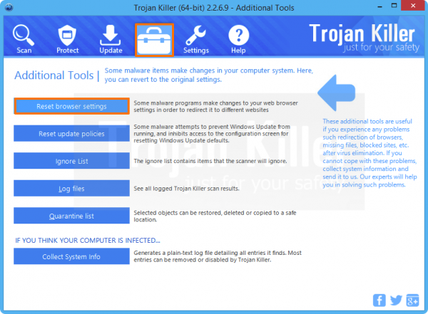Built-in tool of Anti-Malware to reset browser settings