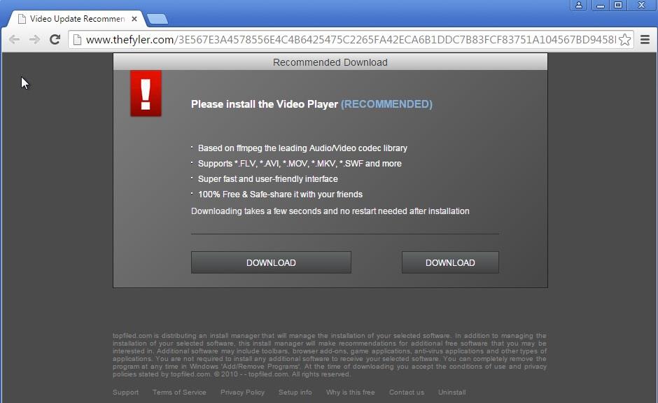 Thefyler.com pop-up window
