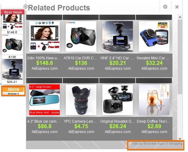 Browser App v1 shopping Ads