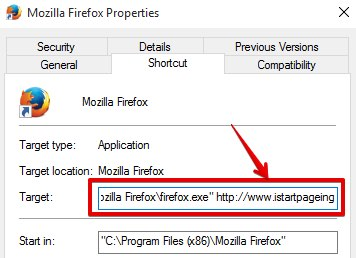 Istartpageing in Mozilla Firefox