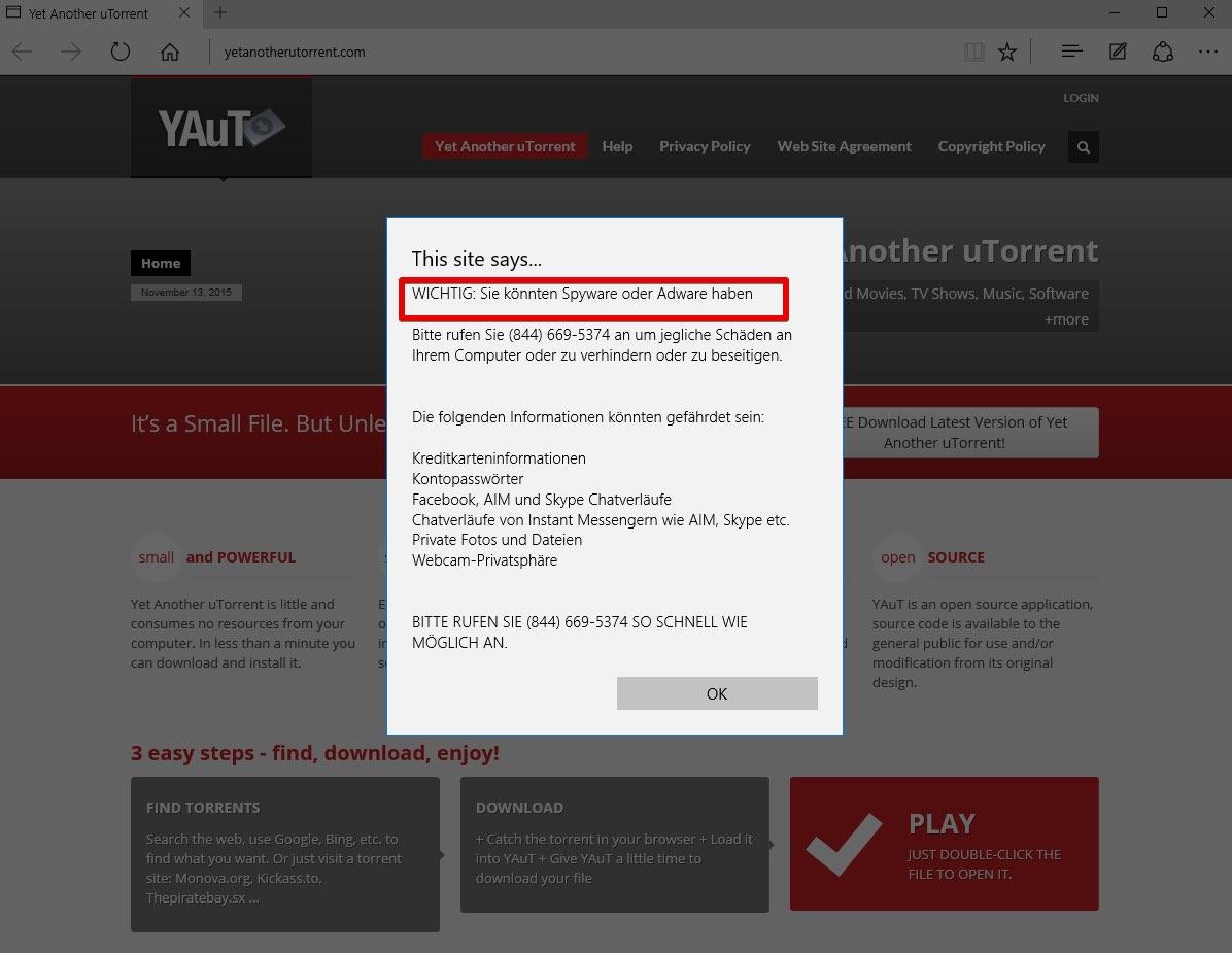 'Wichtig: Sie könnten Spyware oder Adware haben' virus