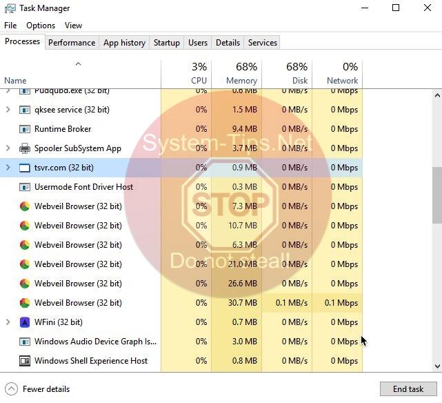 tsvr.com (32 bit) malicious process