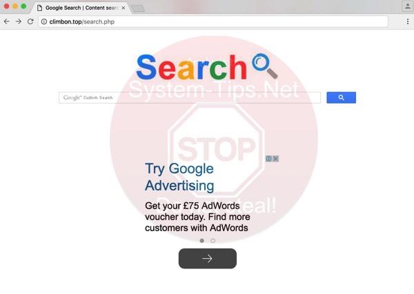 climbon.top browser hijacker