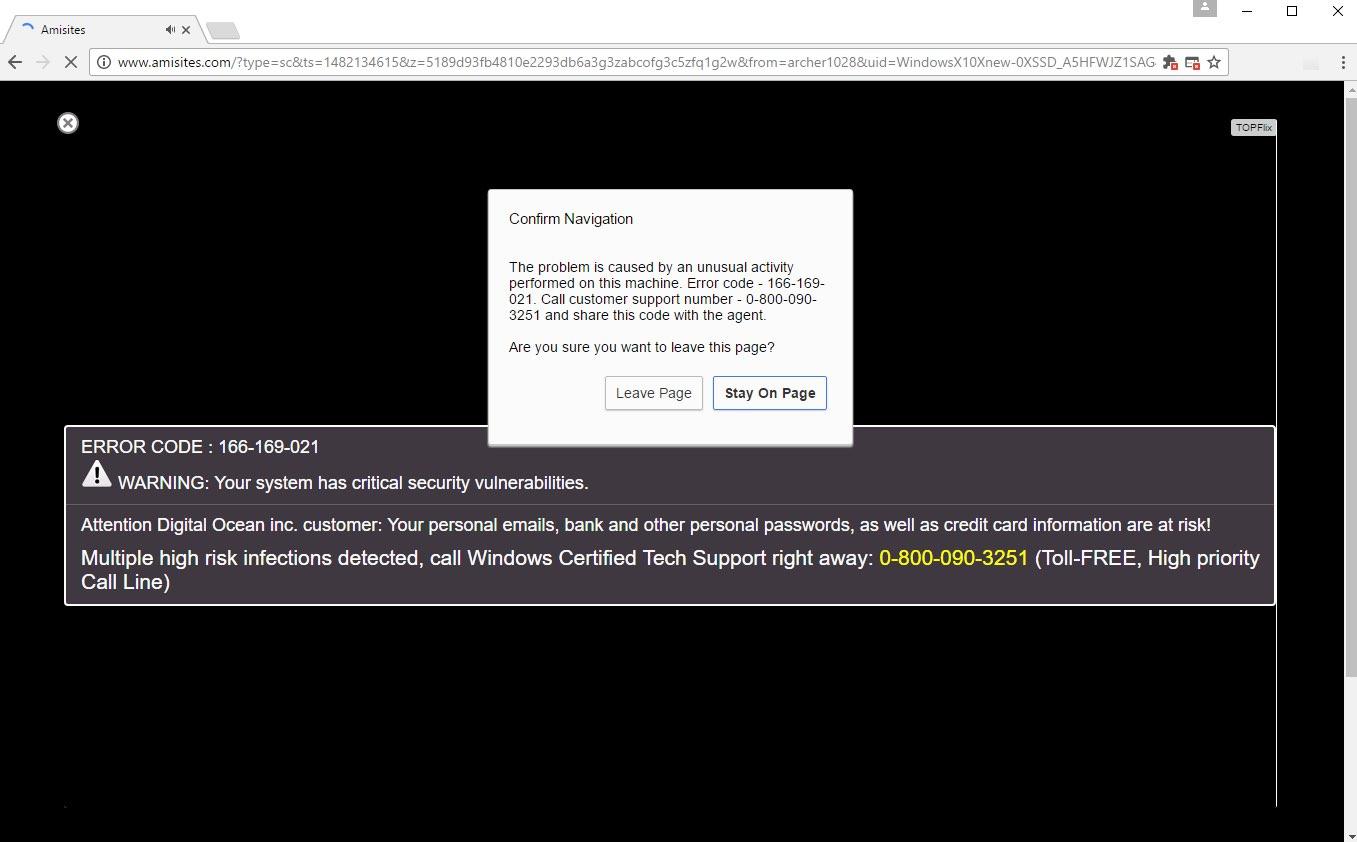 Error Code 166-169-021 scam