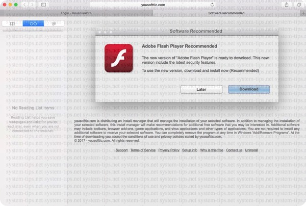 Yousofttic.com Software Recommended pop-up scam on Mac