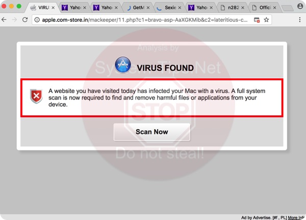 Apple.com-store.in Virus Found scam