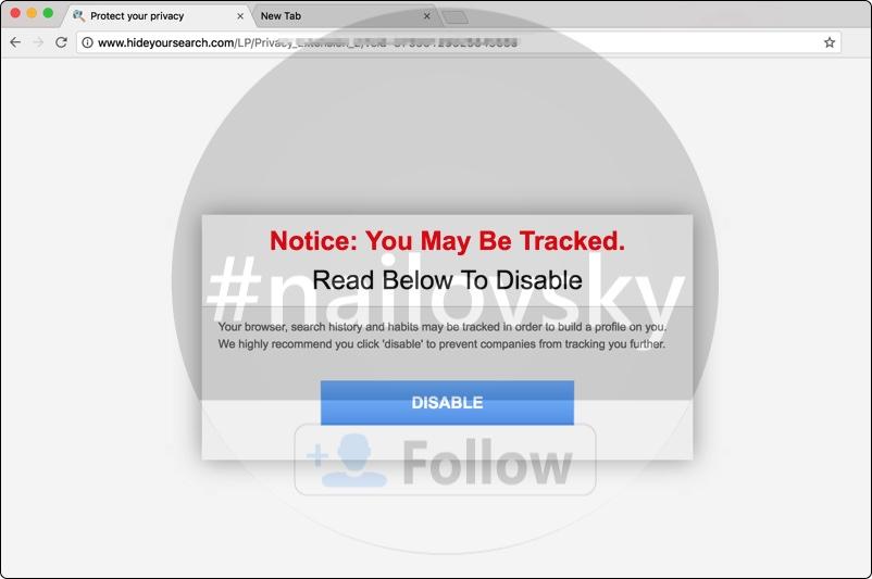Hideyoursearch.com hijacker attacking Google Chrome