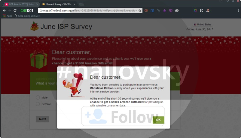 jemx.gdn Reward Survey pop-up