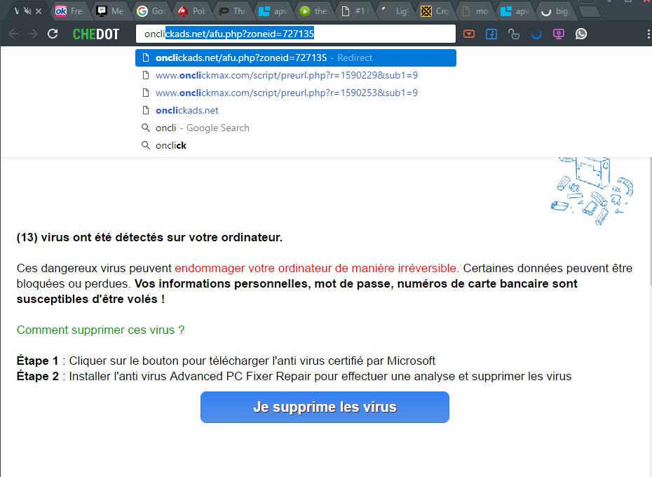 Onclickmax.com redirect virus