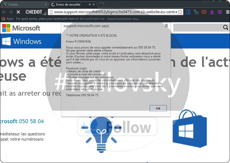 Erreur # DW6VB37 Erreur de securitte 050 58 04 75 online scam