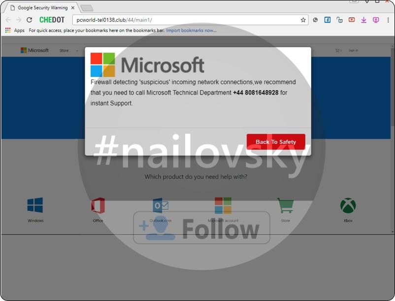pcworld-tel0138.club fake Google Security Warning (+44 8081648928 scam).