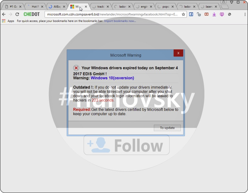 Microsoft.com.cdn.compsaver6.bid fake Microsoft Warning scam