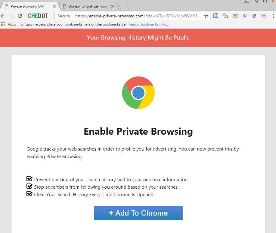 Enable-private-browsing.com extension alert
