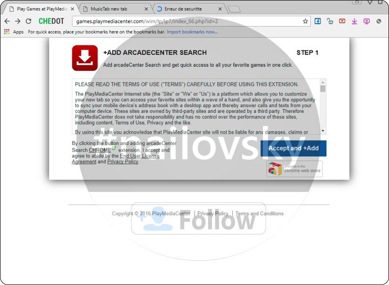 ArcadeCenter Search, a.k.a. games.playmediacenter.com hijack